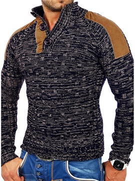 Collar Patchwork Color Block Standard Slim Men's Sweater