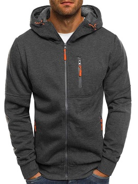 Cardigan Plain Zipper Loose Men's Hoodies