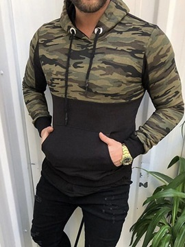 Pullover Patchwork Camouflage Slim Men's Hoodies