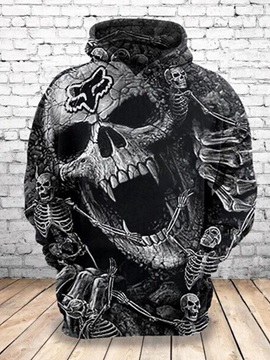 Halloween Pullover Skull Regular Print Round Neck Men's Hoodies
