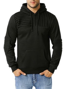 Pullover Pleated Plain Fall Men's Hoodies