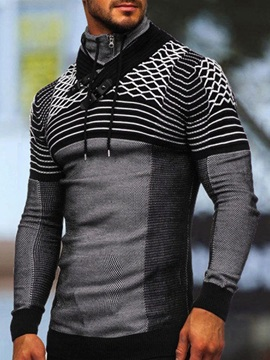 Pullover Patchwork Stripe Casual Men's Hoodies