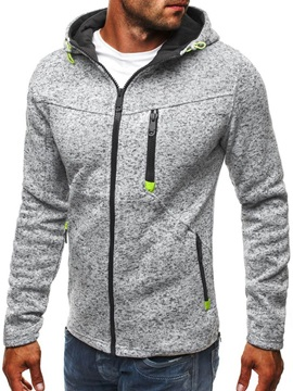Color Block Cardigan Fleece Zipper Fall Men's Hoodies