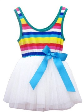 Round-Neck Sleeveles Mesh Pleated Girl's Dress
