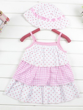 Pink Polka Dot Strap Girl's Dress