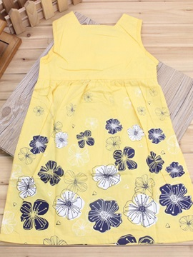 Stylish Cotton Sleeveless Flower-Print Dress