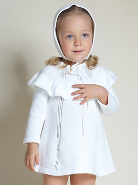 Plain Falbala Sweater Dress With Hat