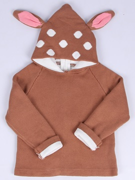 Cute Rabbit-Figured Hooded Long Sleeve Girls Sweater