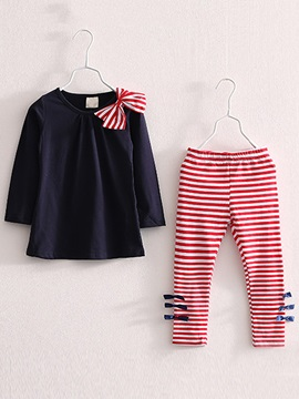 Simple Bowknot T-Shrt & Stripe Pant