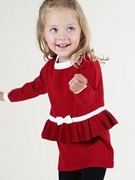 Stylish Ruffles Belt Designed Baby's Sweater Dress
