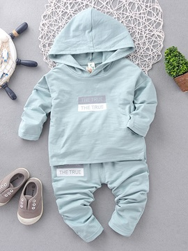 Solid Color Hooded Kid's 2-Piece Sports Outfit