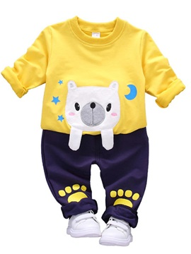 Color Block Cartoon Shaped Baby's 2-Piece Sports Outfit