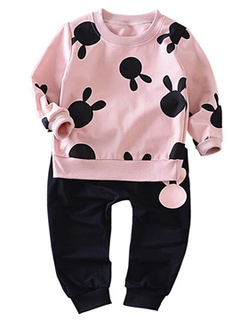 Simple Printing Ruched-Hem Baby's Sports Outfit
