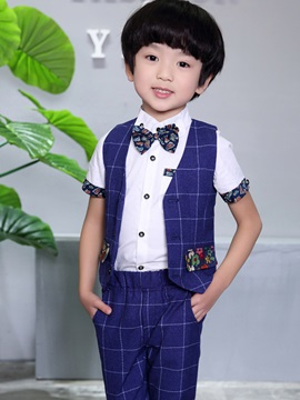 Stylish Plaid Floral Boy's Vest & Pant