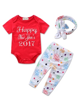 Cute Letter & Flower Printing Baby's 3-Piece Outfit