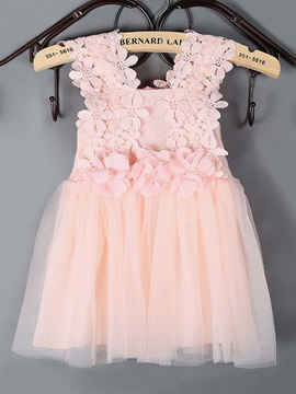 Elegant Flower Mesh Girl's Dress