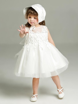 Lace-detailed Back Bowknot Baby Ball Gown Dress