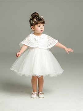 Mesh Tutu Dress & Lace Tippet Baby Girls 2-Pcs Suit