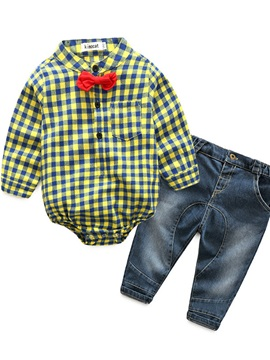 Gentleman Plaid Shirt & Jeans Baby's 2-Piece Outfit