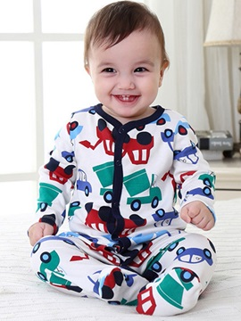 Car Printed Foot Binding Baby Romper