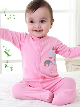 Animal Pattern Pink Long Sleeve Baby Girls Rompers