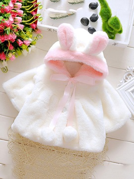 Color Block Hooded Thick Baby Girl's Coat