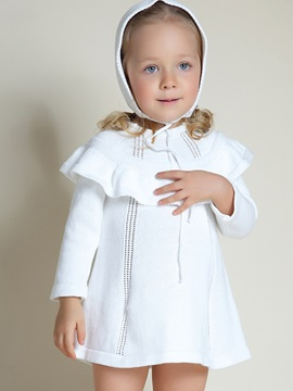 Plain Falbala Hollow Baby Girl's Knitting Dress