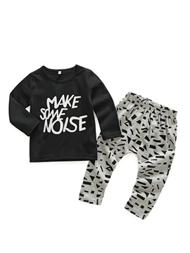 Letter & Geometric Print Baby Boy's 2-Pcs Outfit