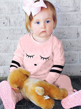 Pink Eye Print Cotton Baby Girl's Outfit