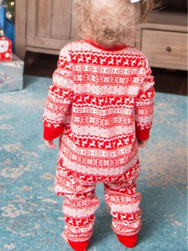Christmas Stripe Single-Breasted Unisex Baby's Outfit Pajamas