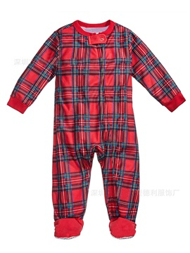 Christmas Plaid Long Sleeve Zipper Unisex Baby's Jumpsuits