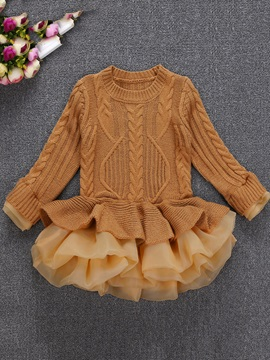 Plain Knitting Mesh Patchwork Girl's Layered Dress