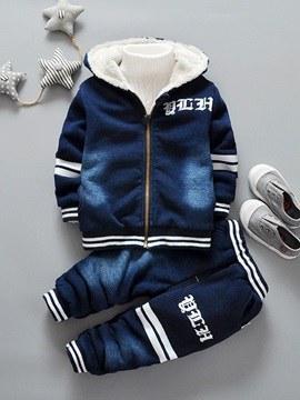 Denim Fleece Hooded Jacket with Jeans Baby Boy's Outfit