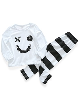 Smile Face Stripe Pants Baby Girls' Outfit