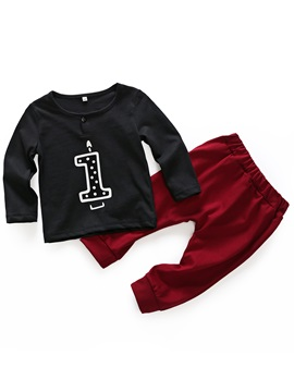 Number Print Unisex Baby Boys' Outfit