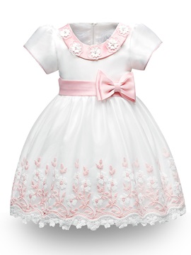 Floral Embroidery Bowknot Ball Gown Girls' Dress