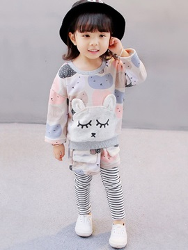 Stylish Color Block Animal Girl's 2-Piece Outfit