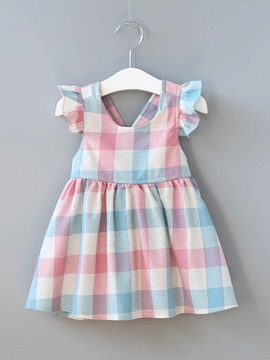Stylish Color Block Buttoned Girl's Dress