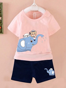 Cotton Short Sleeves Animal Printed Kid's Outfit