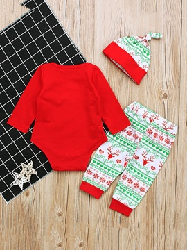 Christmas Print Romper Pants Hat Baby's Pajama Three-Piece Suit