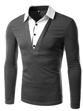 Faux Two Color Block Slim Fit Men's Long Sleeve Tee