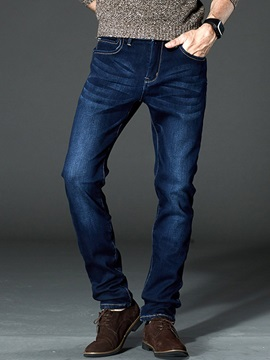 Medium Wash Thicken Men's Straight Jeans