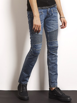 Pleated Worn Patchwork Straight Men's Slim Jeans