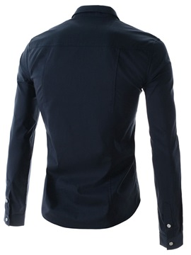 Solid Color Single-Breasted Long Sleeve Shirt