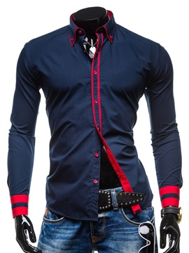 Color Block Lapel Single-Breasted T-shirt