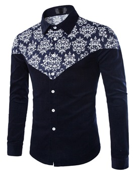 Slim Fit Fashion Pattern One-pocket Long Sleeve Men Shirt