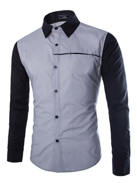 High Quality Fashion Patchwork Men Shirt