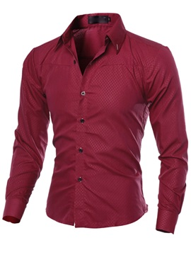 Solid Color Plaid Long Sleeve Men's Shirt