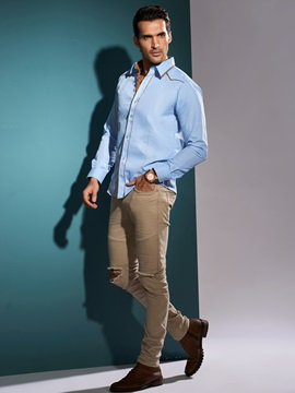 Color Block Slim Fit Men's Shirt