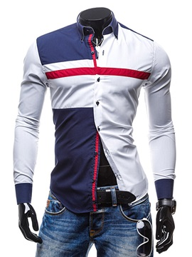 Men's Color Block Slim Fit Long Sleeve Cotton Blends Shirts